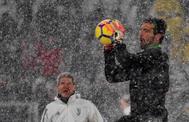 Buffon, este fin de semana, durante el calentamiento del partido entre la Juventus y Atalanta.
