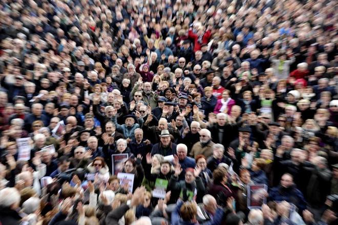 Concentración en defensa de las pensiones en Bilbao