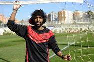 Abdulmajeed Al Sulaiheem, en un entrenamiento en la Ciudad Deportiva del Rayo.