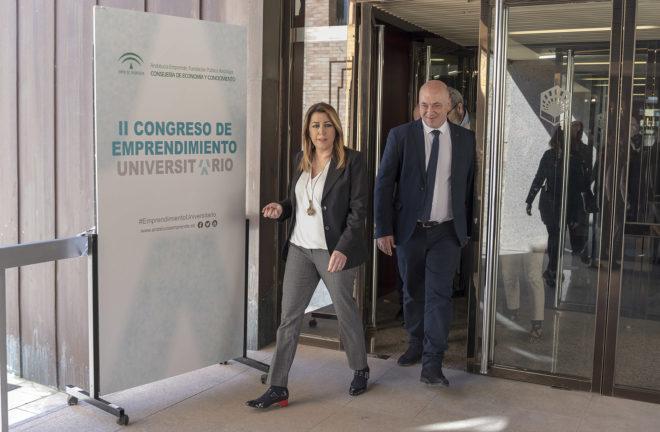 """La presidenta de la Junta, Susana Díaz, en un congreso sobre """"emprendimiento"""" universitario."""