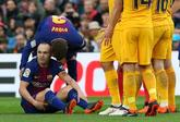 Andrés Iniesta, en el momento de su lesión.