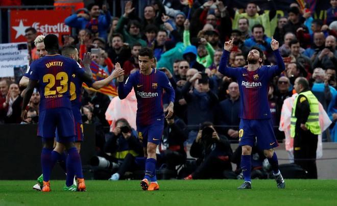 Messi, celebrando su gol ante el Atlético.