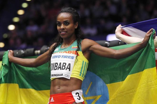 Genzebe Dibaba, tras ganar el oro en 1.500.