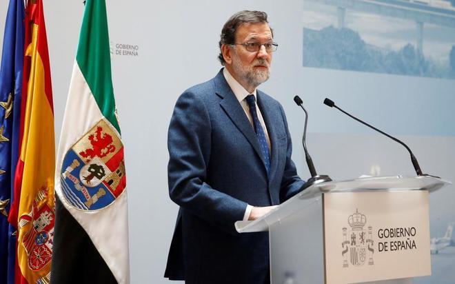 Mariano Rajoy, durante su intervención en Badajoz.