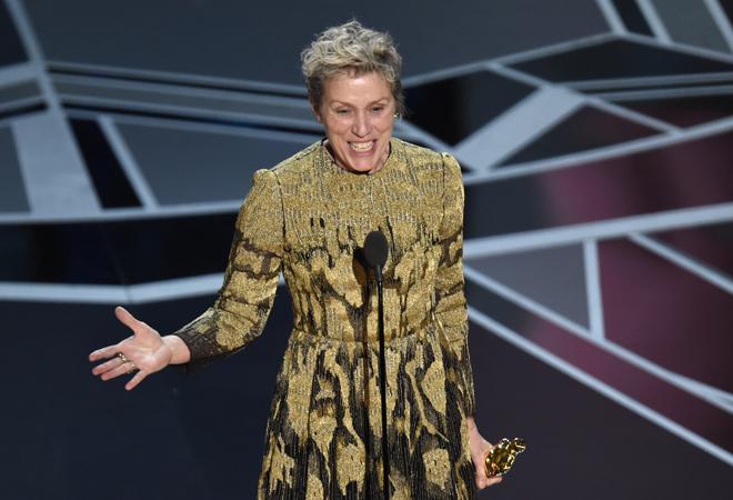 Frances McDormand durante su discurso en los Premios Oscar 2018