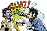 Ilustración del puñetazo de Vargas Llosa a Gabriel García Márquez