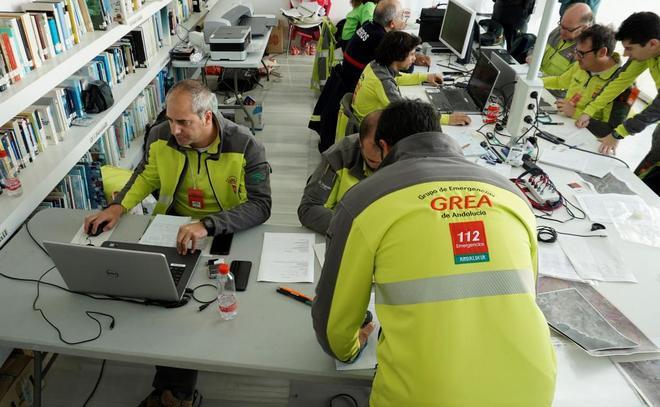 Puesto de mando que coordina el operativo de búsqueda del pequeño Gabriel desaparecido en Nijar (Almería), en el Parque Natural Cabo Gata-Nija,r donde se desarrolla la busqueda del menor.