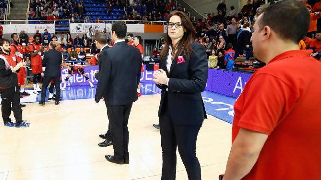 Anna Montañana, en su debut en el banquillo del Fuenlabrada.