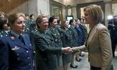 La ministra de Defensa, María Dolores de Cospedal, saluda a las...