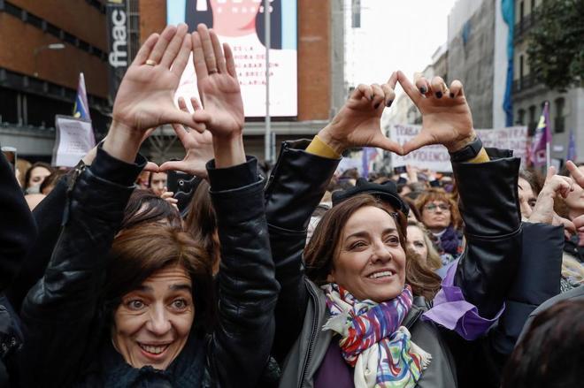 Protesta de periodistas por el Día de la Mujer en Madrid.