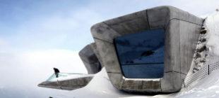Los miradores del Museo Messner diseñado por Zaha Hadid cuelgan del...