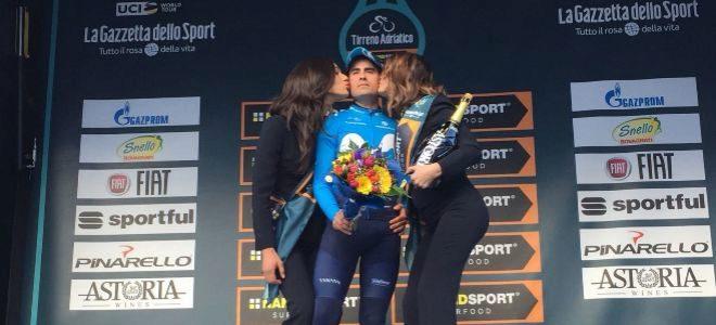 Landa, en el podio de la Tirreno-Adriático.