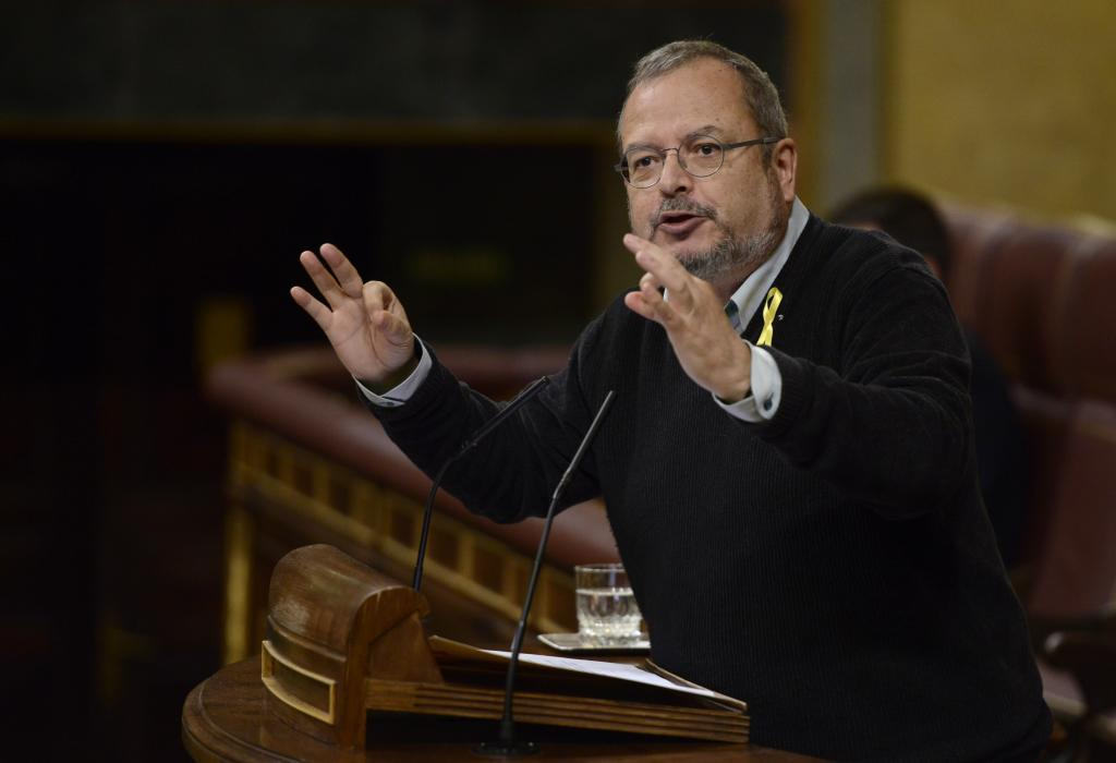 El diputado de ERC Joan Olóriz, durante una intervención en el...