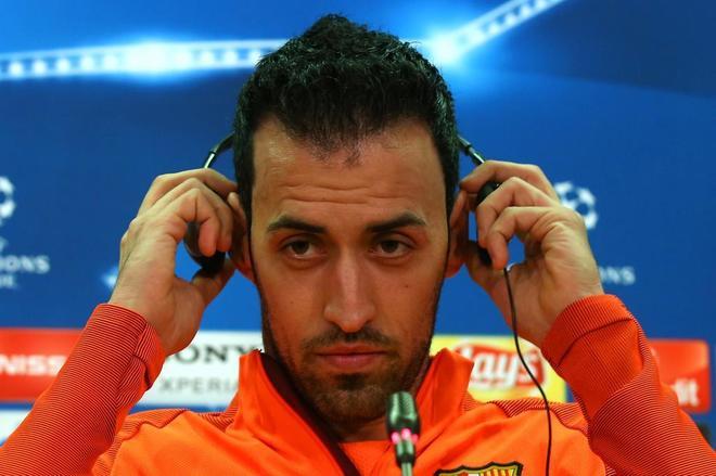 Sergio Busquets, durante la rueda de prensa previa al duelo contra el Chelsea.