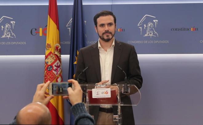 Alberto Garzón, en rueda de prensa en el Congreso de los Diputados.