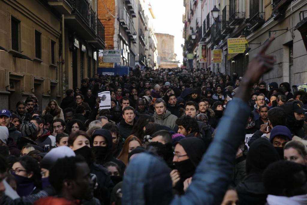 Manifestación de manteros en el barrio de Lavapiés.