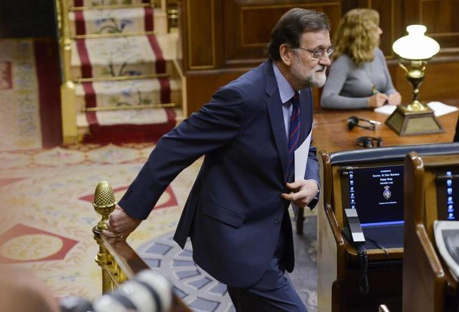 Mariano Rajoy, el pasado jueves en el Congreso, durante el Pleno sobre la prisión permanente revisable.