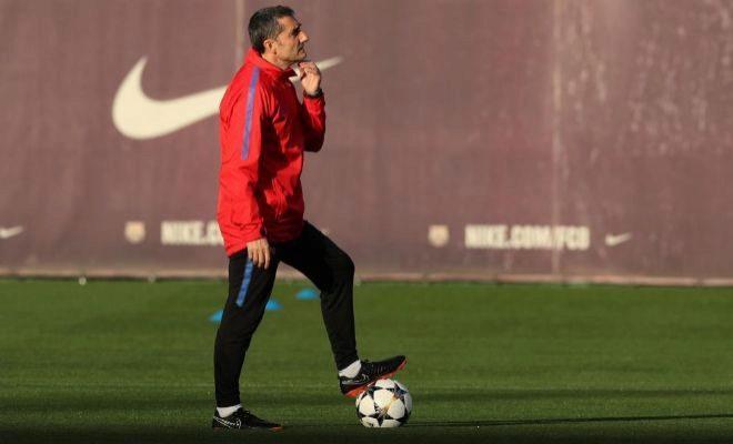 Valverde, durante un entrenamiento reciente con el Barcelona.