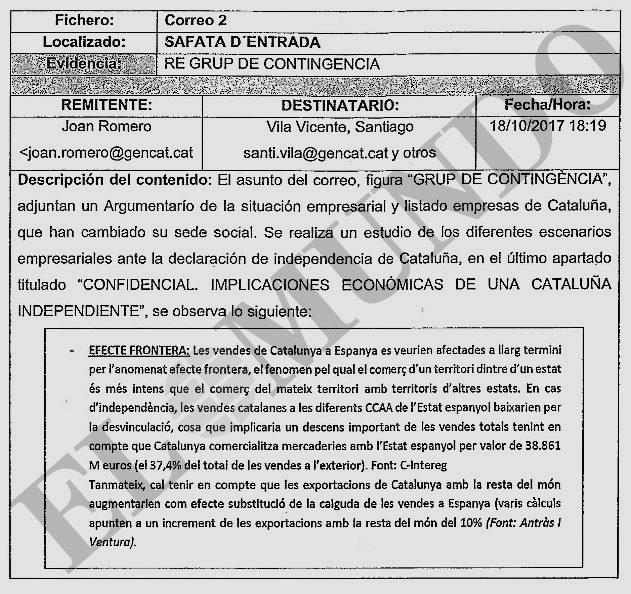 Resumen del informe confidencial hallado en el correo de Santi Vila.