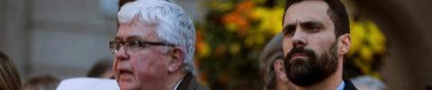 Agustí Alcoberro (izqda.), vicepresidente de la ANC, y Roger Torrent,...