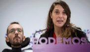 Pablo Echenique y Noelia Vera, durante la rueda de prensa de Podemos