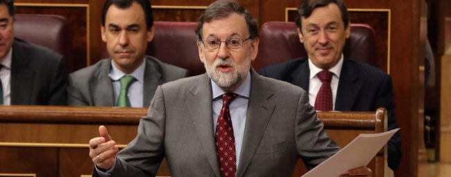 Mariano Rajoy, durante su intervención en la sesión de control al...