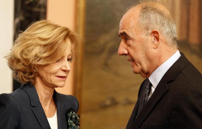 La ex ministra de Economía Elena Salgado y el ex presidente del ICO José María Ayala, en una imagen de 2010.