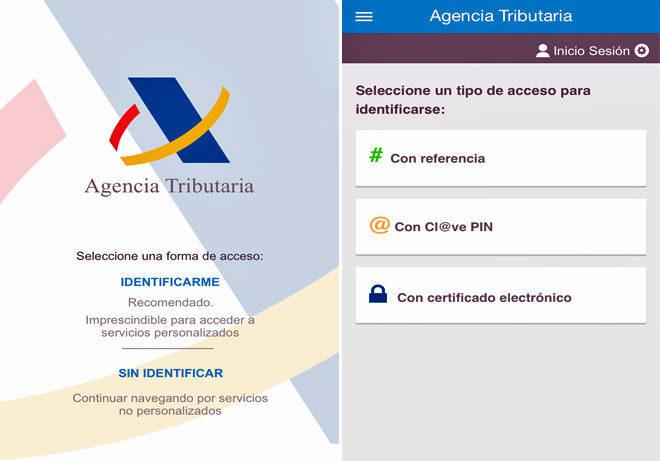 Captura de pantalla de la aplicación de la Renta 2017