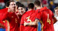 Meré, Caricol, Fabián y C. Soler celebran uno de los tantos conseguidos ante Irlanda del Norte.