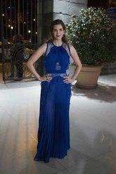 Margarita Vargas acudió a  la gala con un vestido plisado con...