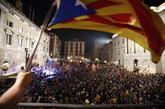 Celebración en la plaza de Sant Jaume tras el anuncio de la...
