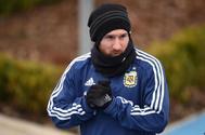 Lionel Messi, durante un entrenamiento de la selección argentina en Manchester.