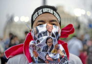 Un manifestante durante una propuesta contra la corrupción en Lima, Perú.