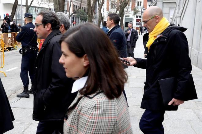 Josep Rull y Raül Romeva, a su salida del Tribunal Supremo