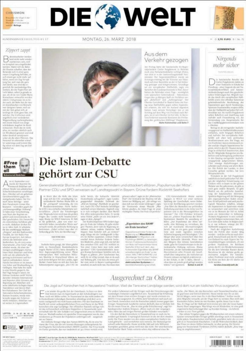 La prensa alemana se ha hecho eco del arresto de Puigdemont en su...