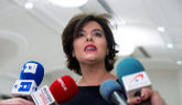 Soraya Sáenz de Santamaría, en declaraciones a los medios tras la...