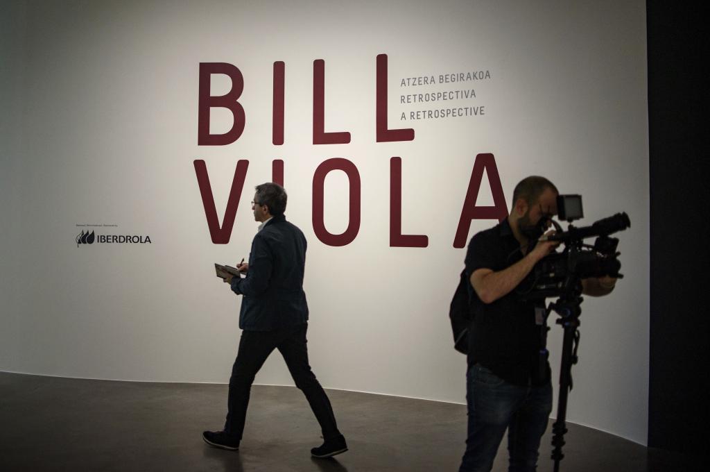 Entrada en la exposición temporal de Bill Viola que pudo verse en el museo Guggenheim durante 2017.