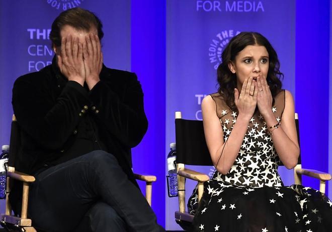 David Harbour y Millie Bobby Brown, en el evento celebrado en Hollywood.