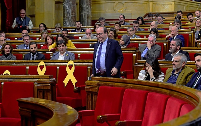 Miquel Iceta, el pasado viernes, en el Parlament catalán.