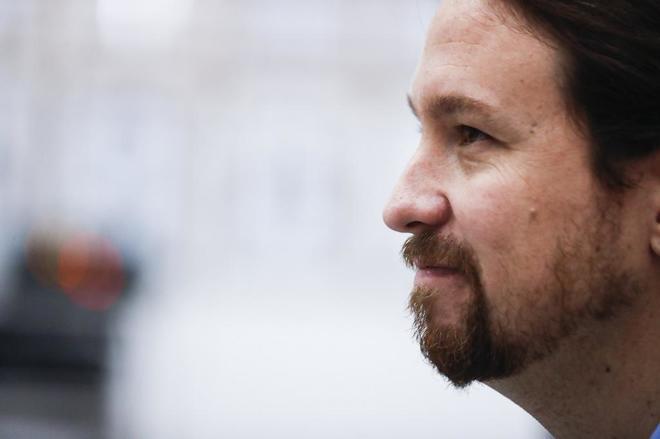 El secretario general de Podemos, Pablo Iglesias, el pasado lunes, en...