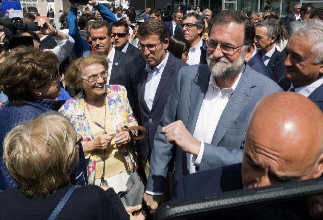 Núñez Feijóo y Mariano Rajoy en Chantada, en los actos por el 40 aniversario de Hotusa.