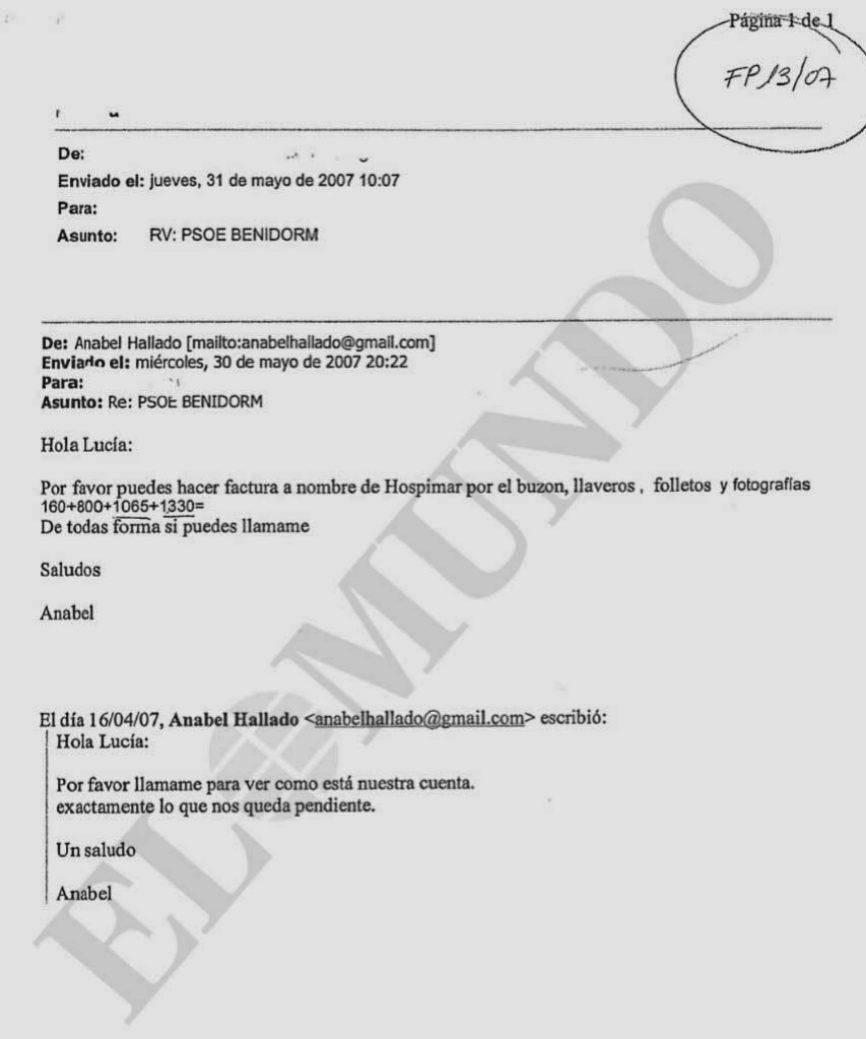 Uno de los correos entregados a la Policía lleva como asunto «PSOE...