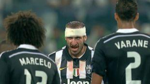Giorgio Chiellini, durante la semifinal de Champions ante el Real...
