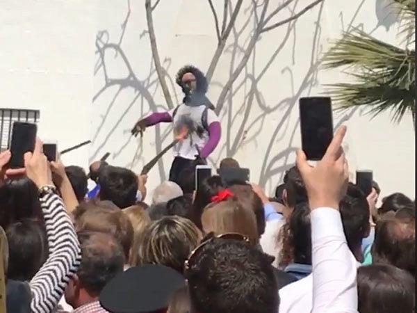 Un momento de la Quema de Judas del pasado domingo en Coripe.