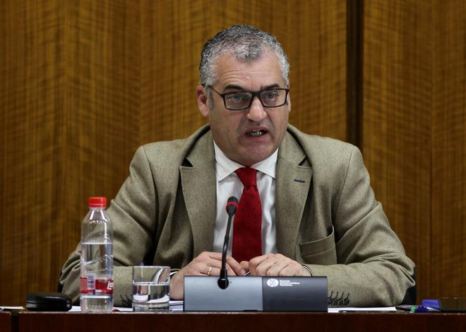 El consejero de Empleo, Empres y Comercio, este jueves en comisión parlamentaria.