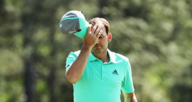 Sergio García lamentándose tras un mal golpe en el hoyo 15.