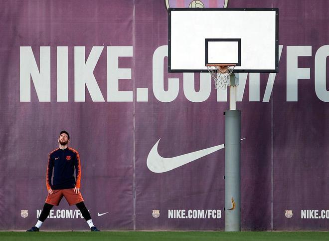 Messi, en el entrenamiento previo al partido de este sábado frente al Leganés.