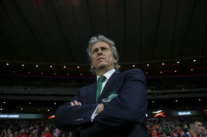 El técnico del Sporting, durante el encuentro de cuartos de la Europa League.