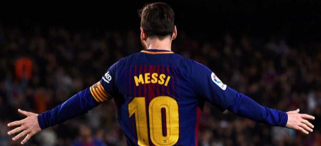 Messi festeja tras anotar.