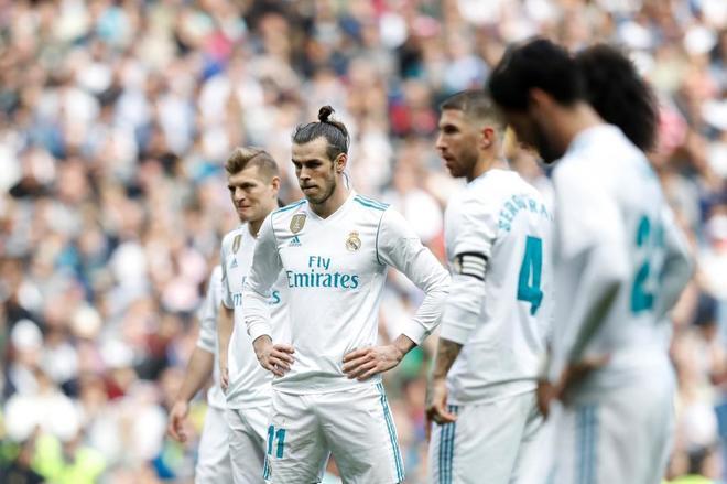 Toni Kroos, Garath Bale y Sergio Ramos, durante el partido ante el Atlético de Madrid.